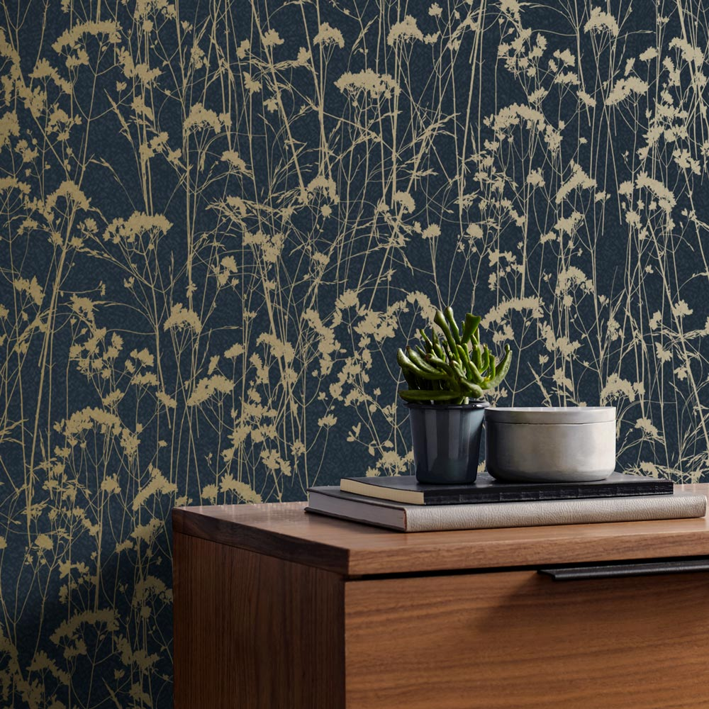 Grace Wallpaper - Midnight - by Graham & Brown