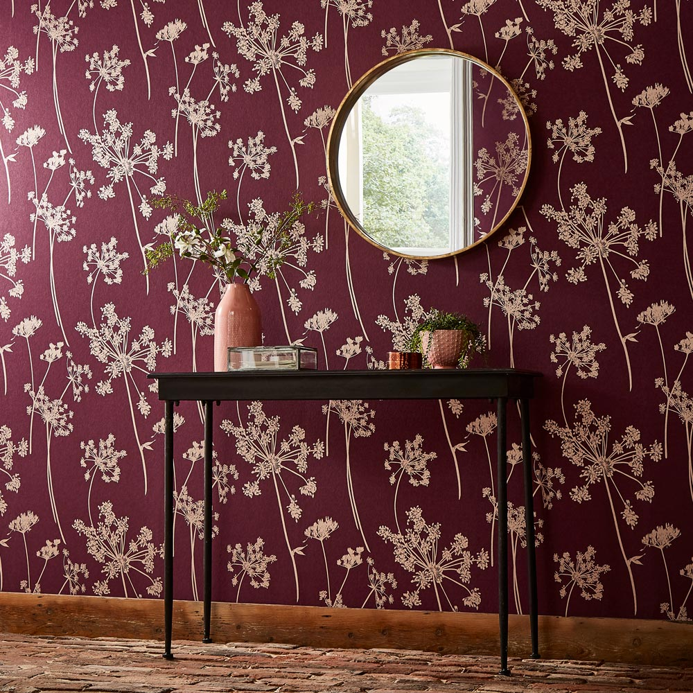 Graham & Brown Anthriscus Plum Wallpaper - Product code: 105579