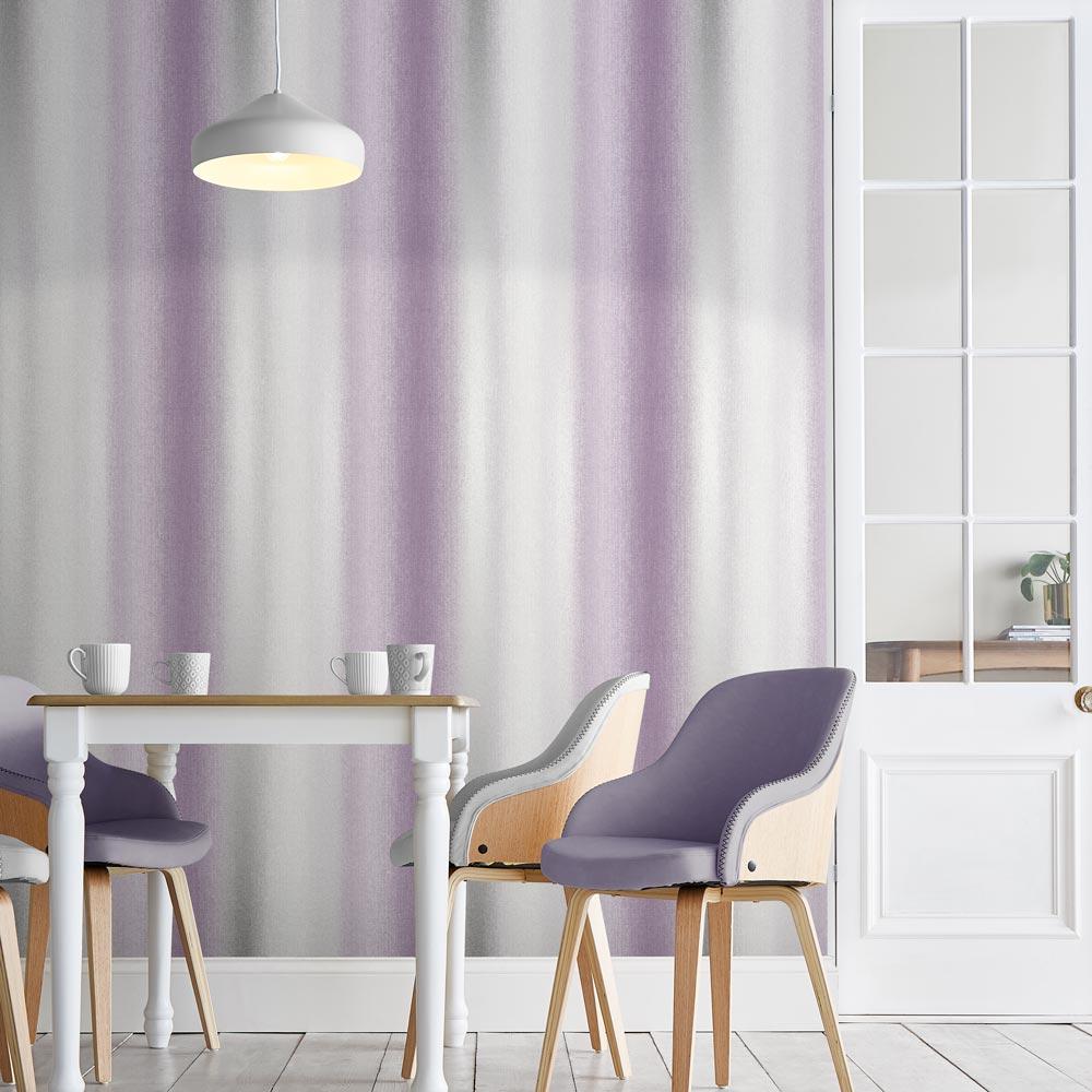 Wildflower Stripe Wallpaper - Plum - by Graham & Brown