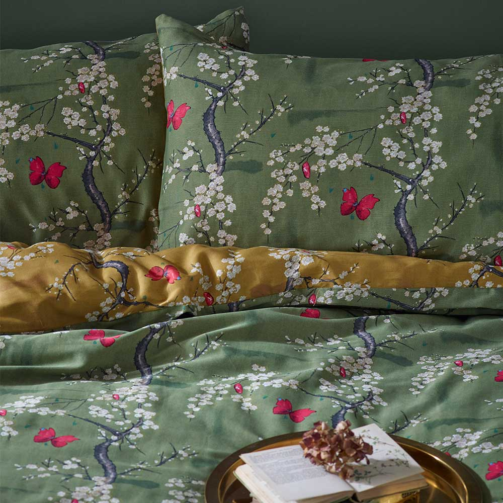 The Chateau Blossom Duvet Set Duvet Cover - Basil/ Ochre - by The Chateau by Angel Strawbridge