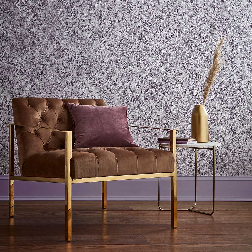 Botany Wallpaper - Plum - by Graham & Brown