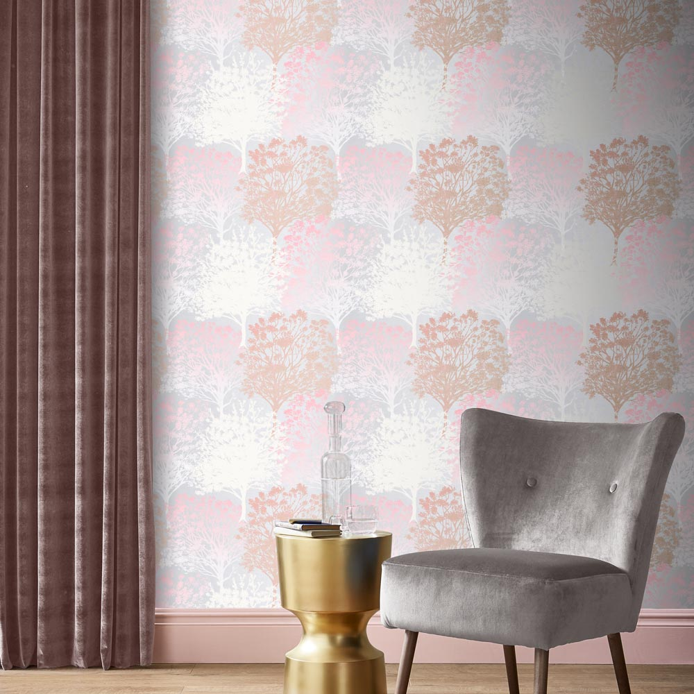 Grove Wallpaper - Blush - by Graham & Brown