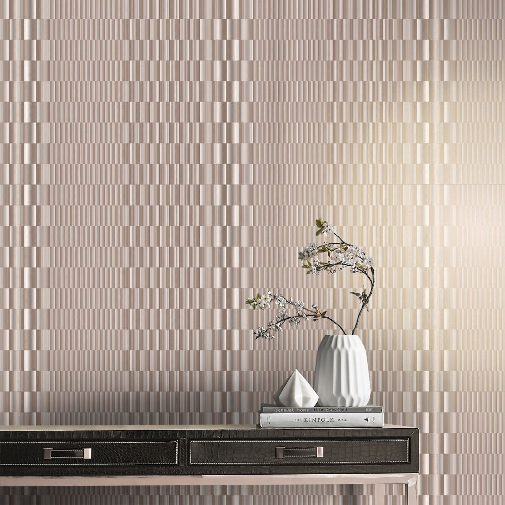 Symmetry Wallpaper - Rose Gold - by Graham & Brown
