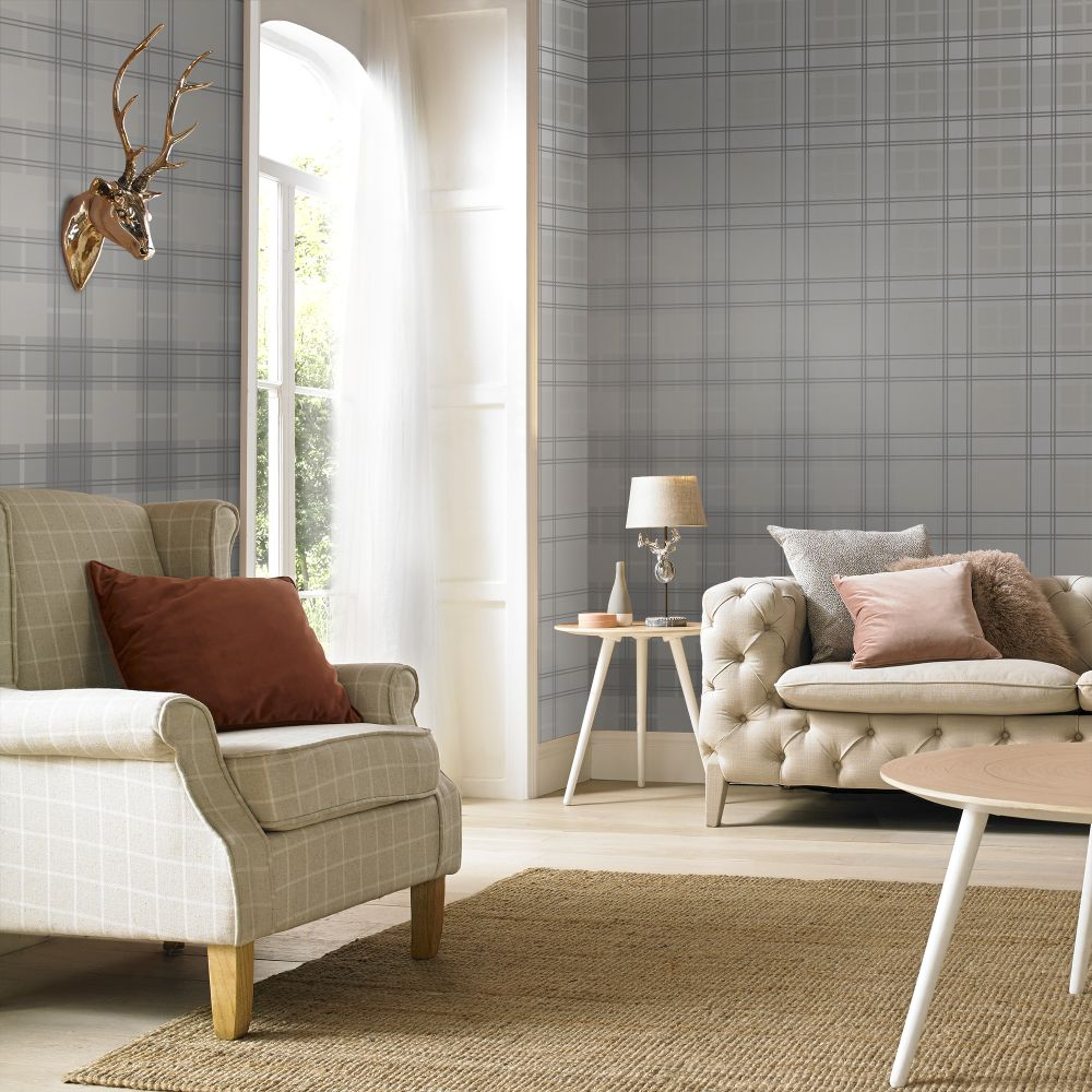 Graham & Brown Tartan Silver Wallpaper - Product code: 104722