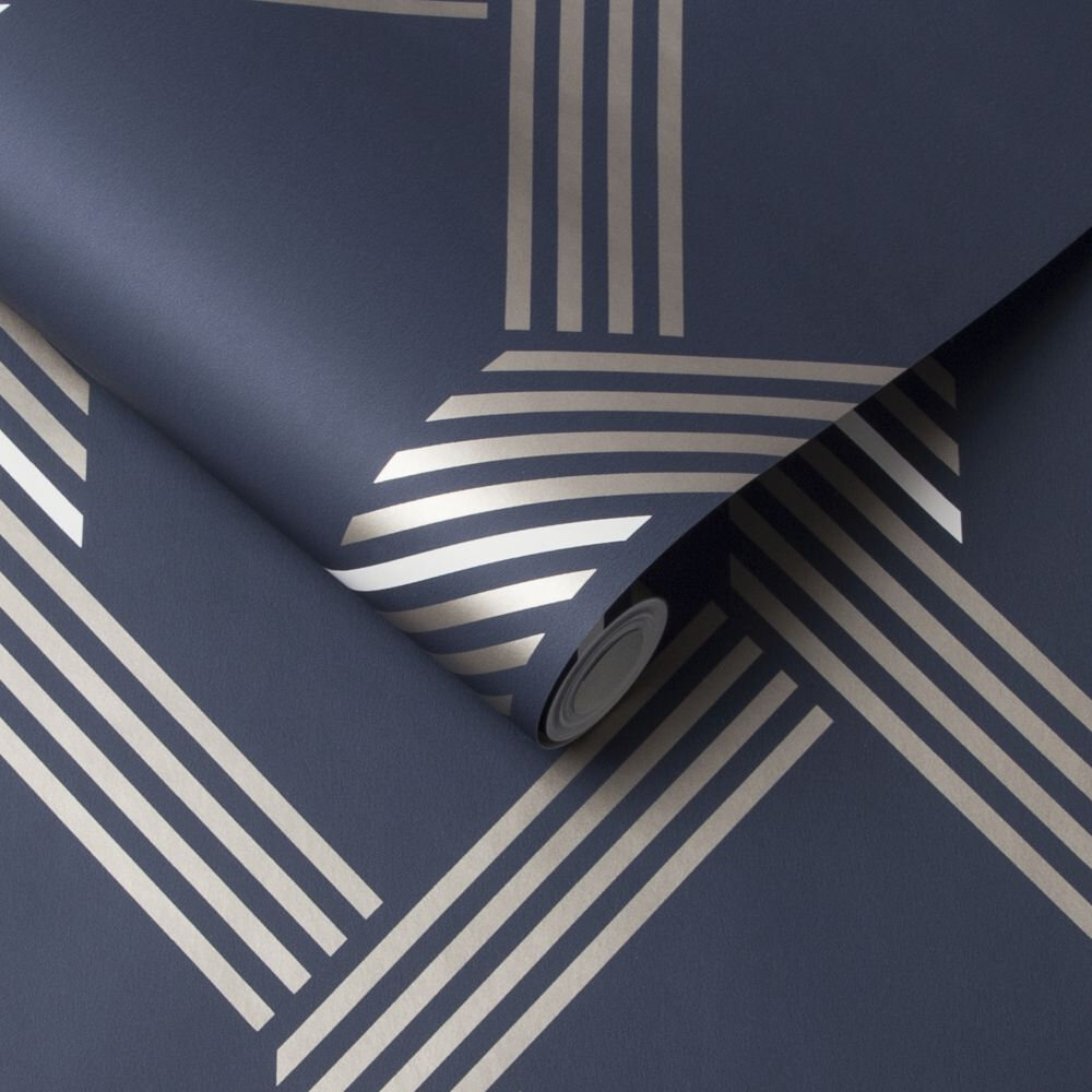 Vector Wallpaper - Navy / Gold - by Graham & Brown