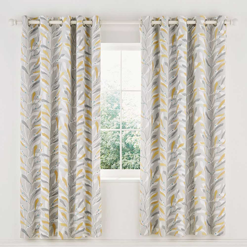 Sea Kelp Lined Curtains Ready Made Curtains - Ochre - by Sanderson