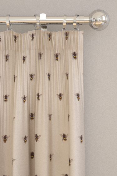 Clarke & Clarke Abeja (bee) Ivory Curtains - Product code: F1325/02