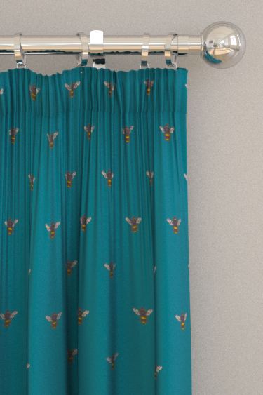 Clarke & Clarke Abeja (bee) Teal Curtains - Product code: F1325/05