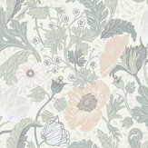 Galerie Anemone White / Light Green Wallpaper - Product code: 33000