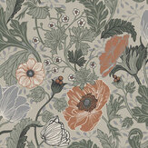 Galerie Anemone Green / Orange Wallpaper - Product code: 33001
