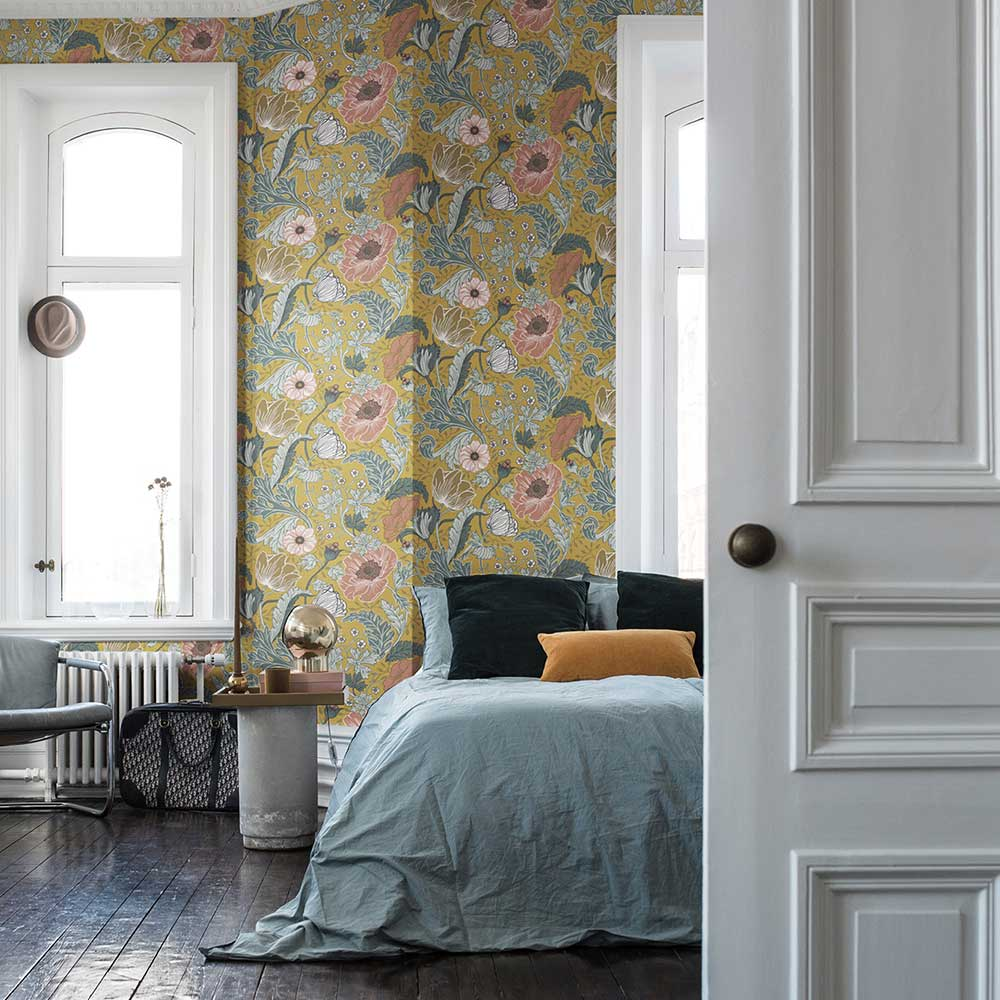 Anemone Wallpaper - Mustard  - by Galerie