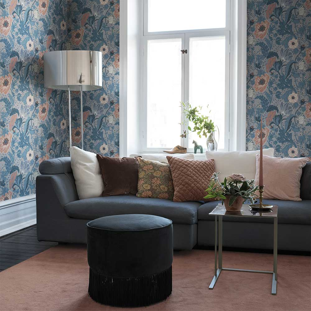 Anemone Wallpaper - Blue / Blush - by Galerie