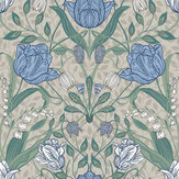 Galerie Filippa White / Green / Blue Wallpaper - Product code: 33008