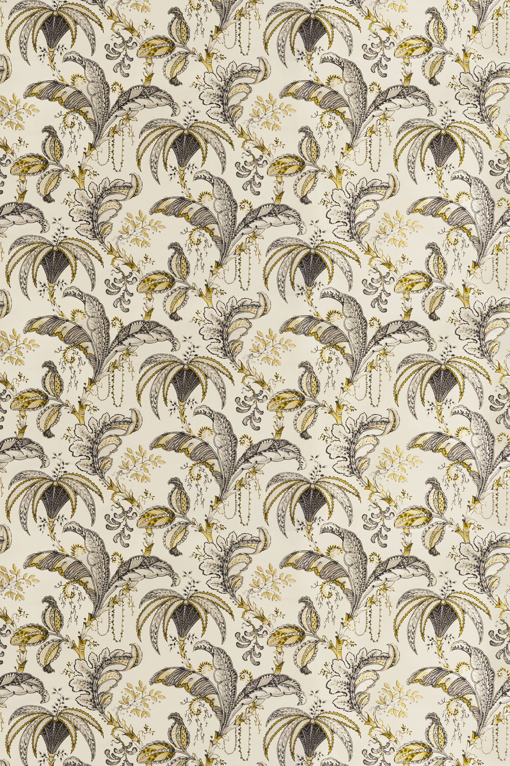 Ophelia Fabric - Charcoal / Ochre - by Clarke & Clarke