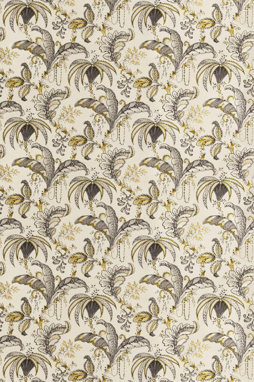 Ophelia Fabric - Charcoal / Ochre - by Clarke & Clarke