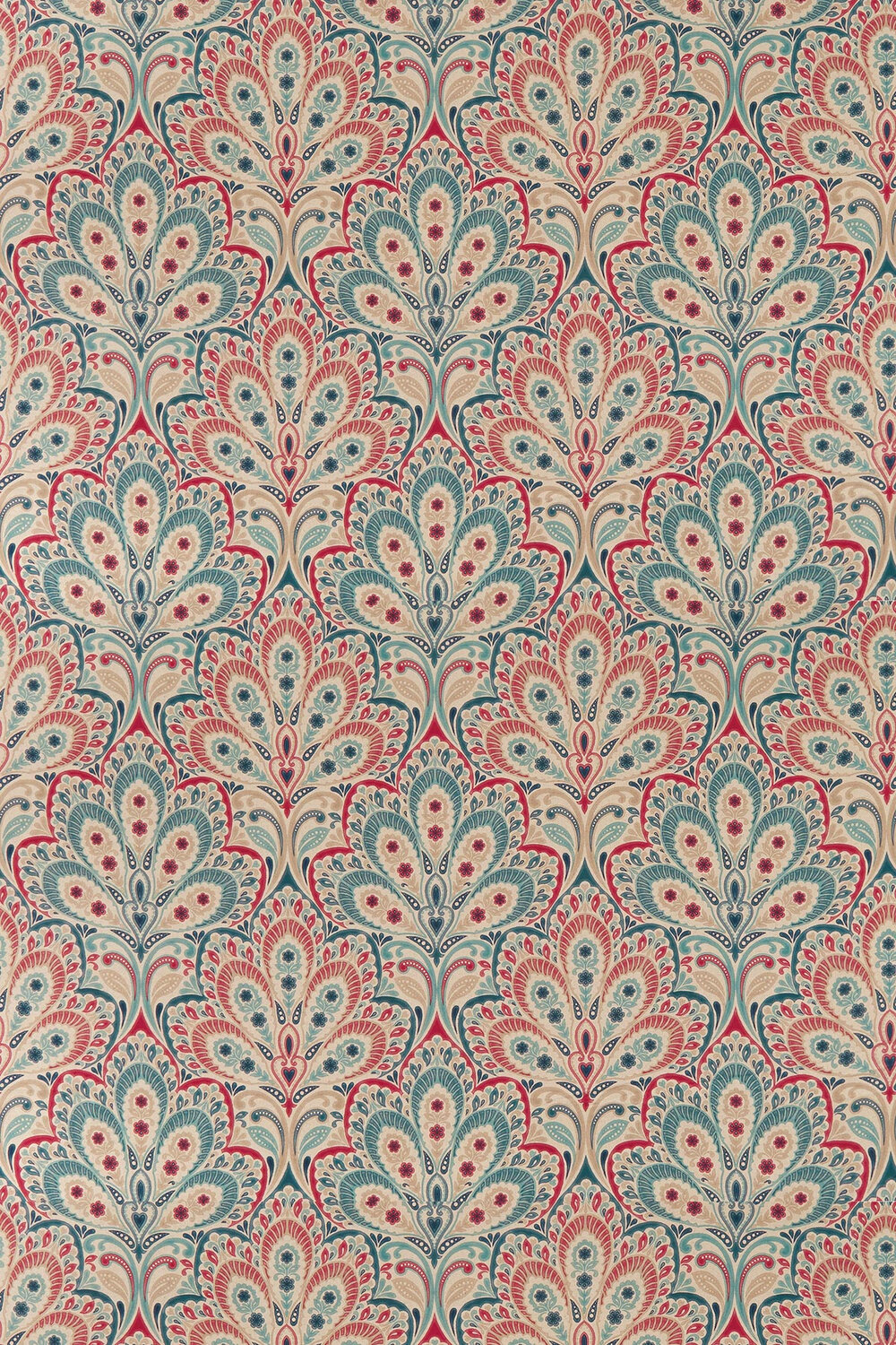 Persia Fabric - Denim / Raspberry - by Clarke & Clarke