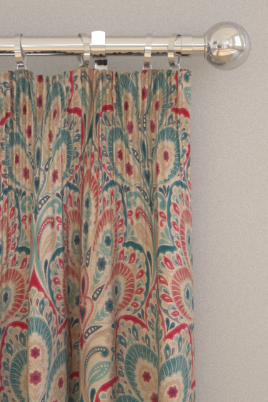 Clarke & Clarke Persia Denim / Raspberry Curtains - Product code: F1332/02