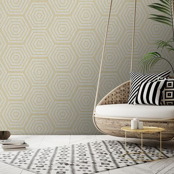 SK Filson Aztec Hexagons Beige Wallpaper - Product code: SK20023