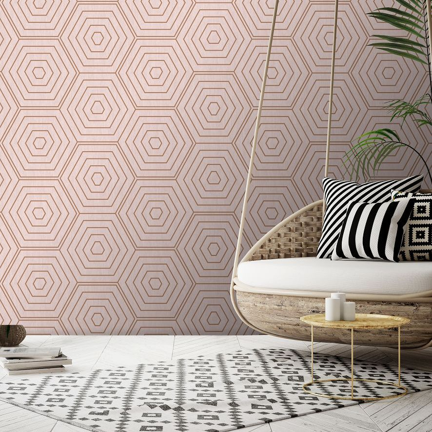 Aztec Hexagons Wallpaper - Pink - by SK Filson