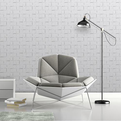 Geometric Lines Wallpaper - Silver - by SK Filson