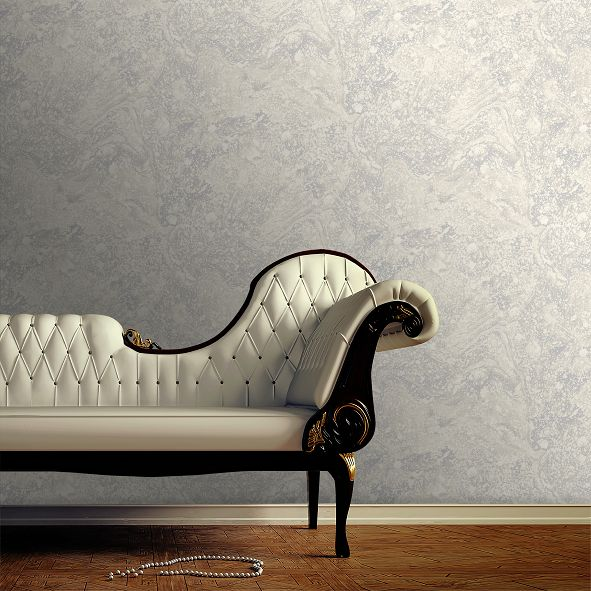 Infused Marble Wallpaper - Grey / Silver - by SK Filson