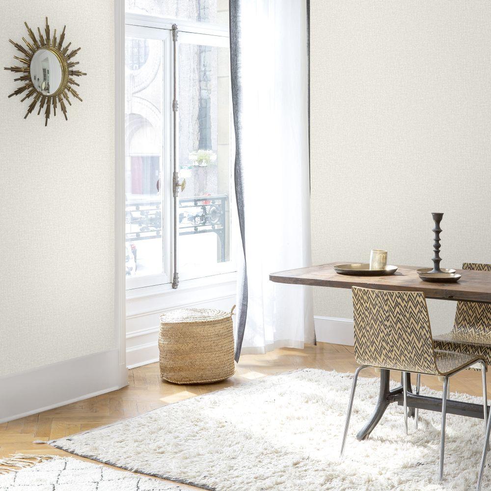 Linen Plain Wallpaper - Silver - by SK Filson