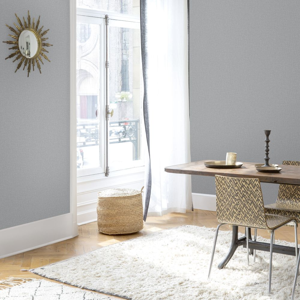 SK Filson Linen Plain Dark Grey Wallpaper - Product code: LV1203