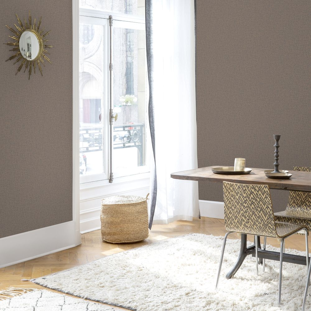 Linen Plain Wallpaper - Copper - by SK Filson