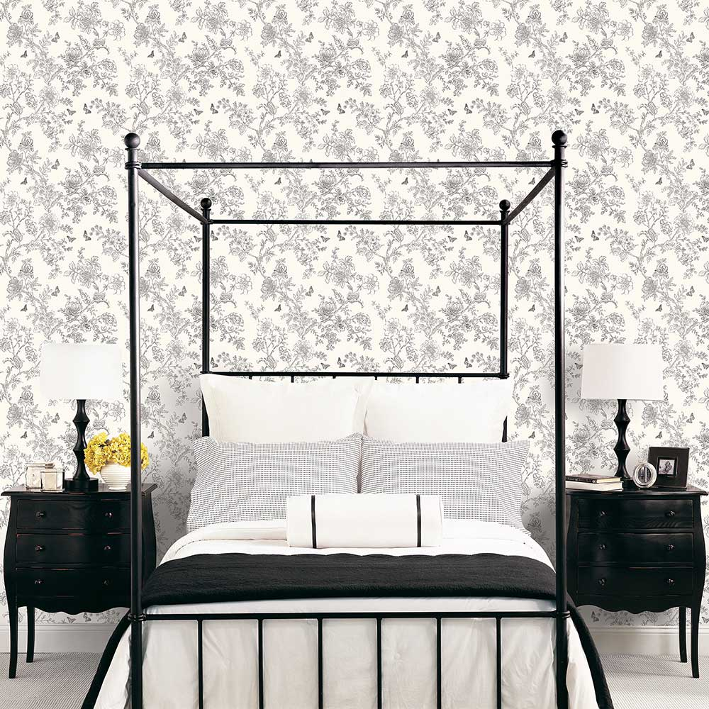 Galerie Boughs and Butterflies Black and White Wallpaper - Product code: FH37540