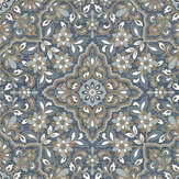 Galerie Moroccan Floral Dark Blue and Gold Wallpaper - Product code: FH37542