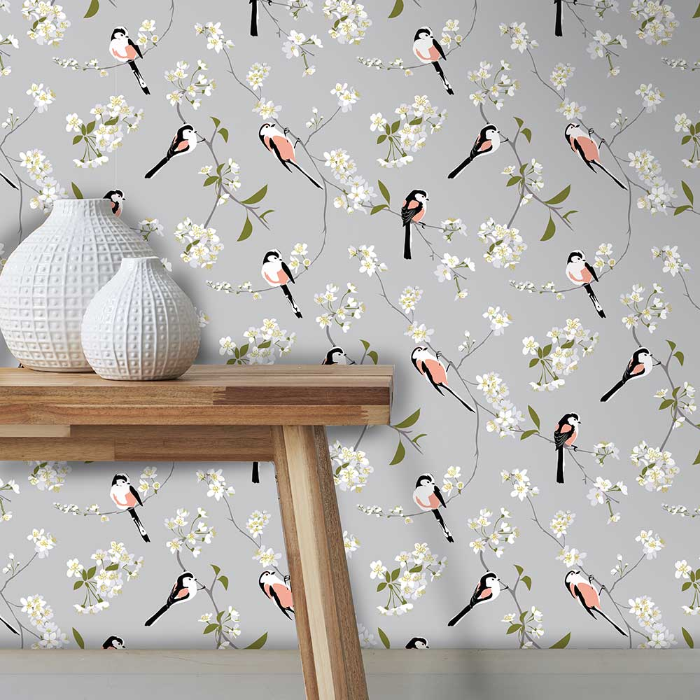 Lorna Syson Blossom and Bird Grey Wallpaper - Product code: RSPBBBGW