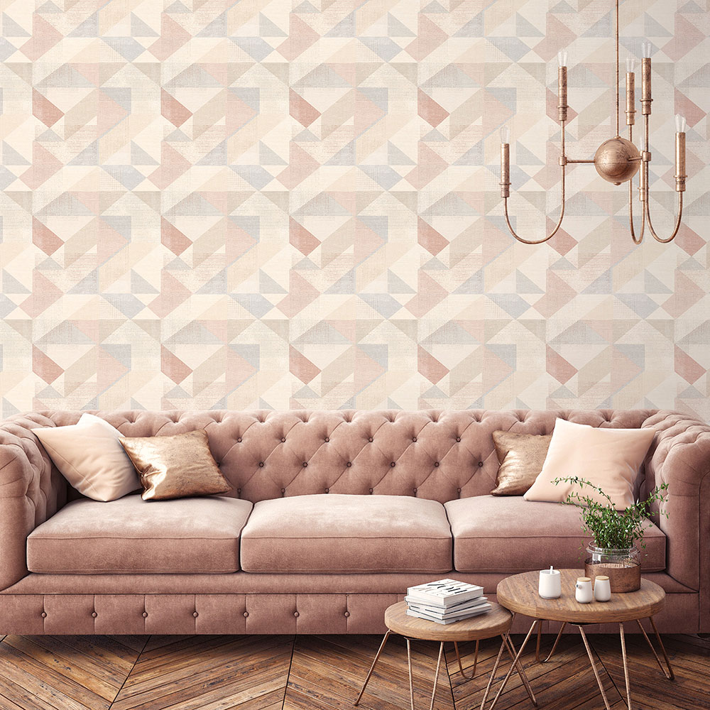 Galerie Silk Screen Geometric Dusky Pink Wallpaper - Product code: GX37656