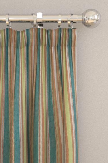 Clarke & Clarke Ziba Teal / Spice Curtains - Product code: F1352-04