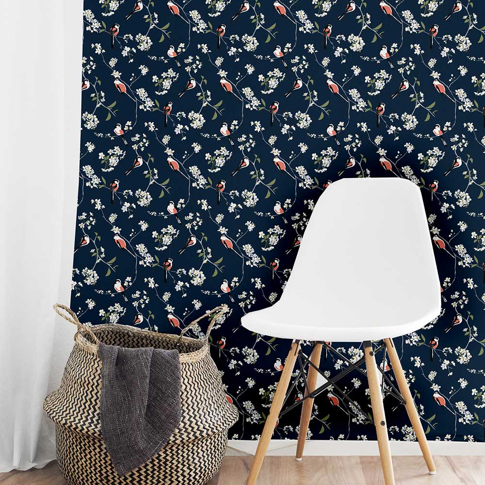 Blossom and Bird Wallpaper - Navy - by Lorna Syson