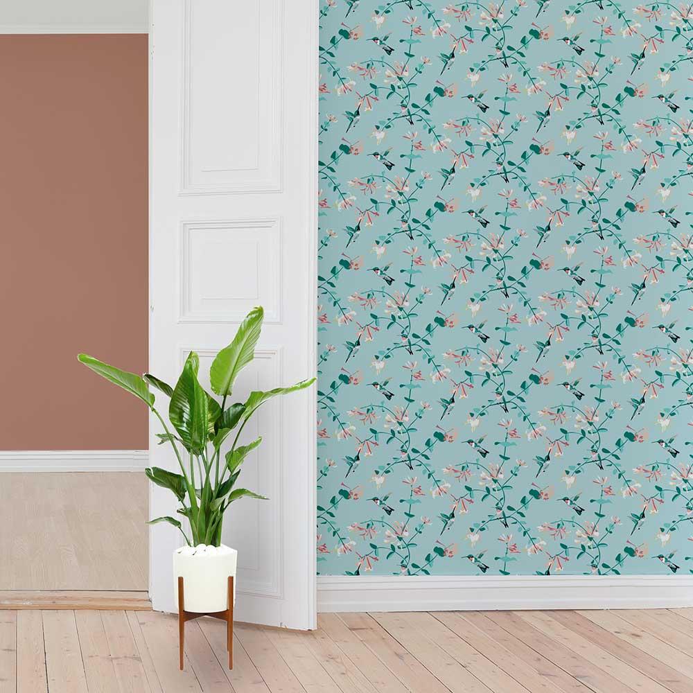 Hummingbird Wallpaper - Mint - by Lorna Syson