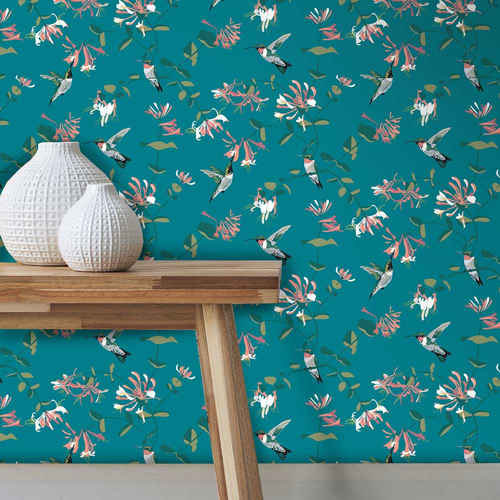 Lorna Syson Hummingbird Teal Wallpaper - Product code: RSPBBHTW