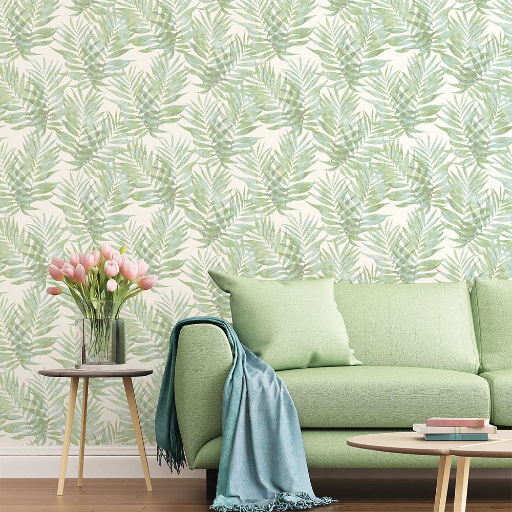 Palm Leaves Wallpaper - Green - by Galerie