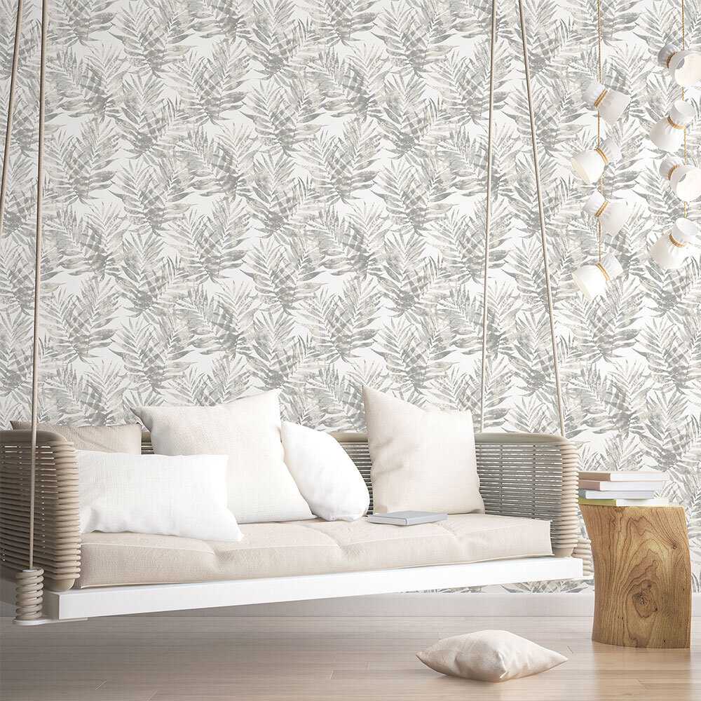 Galerie Palm Leaves Beige and Grey Wallpaper - Product code:  G67945