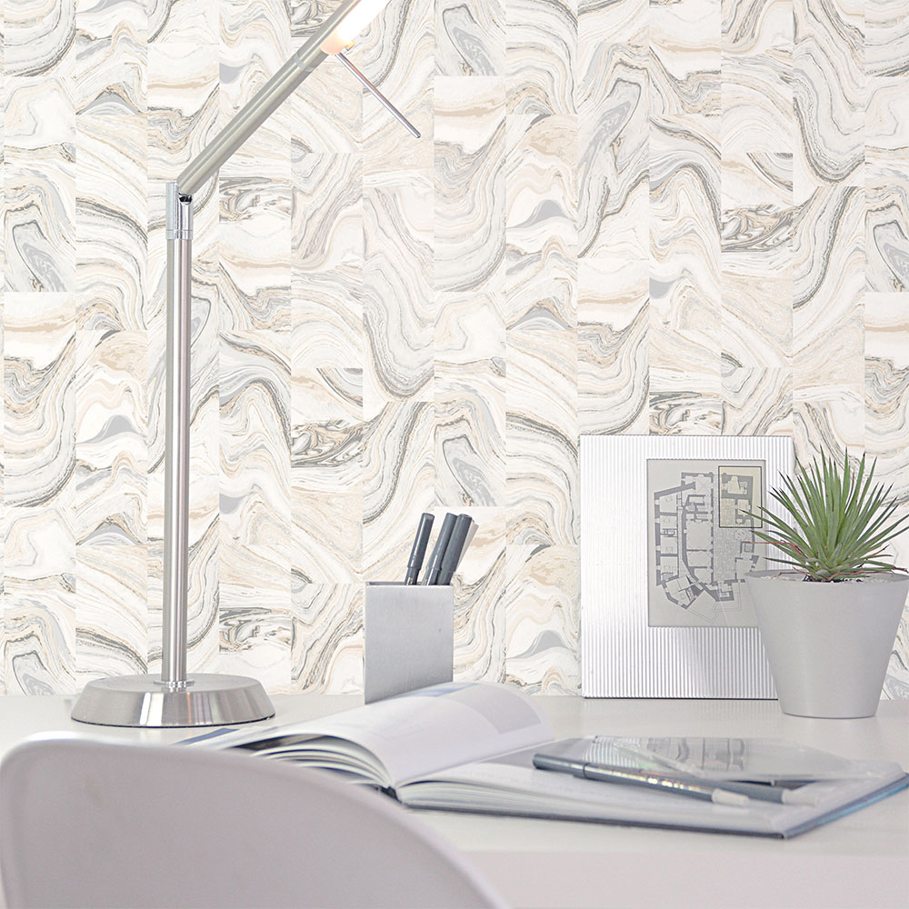 Galerie Marble Tile Silver Marble Wallpaper - Product code: G67976