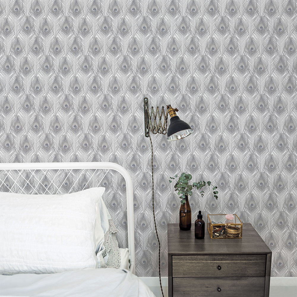 Galerie Peacock Feathers Grey Brown Wallpaper - Product code: G67977