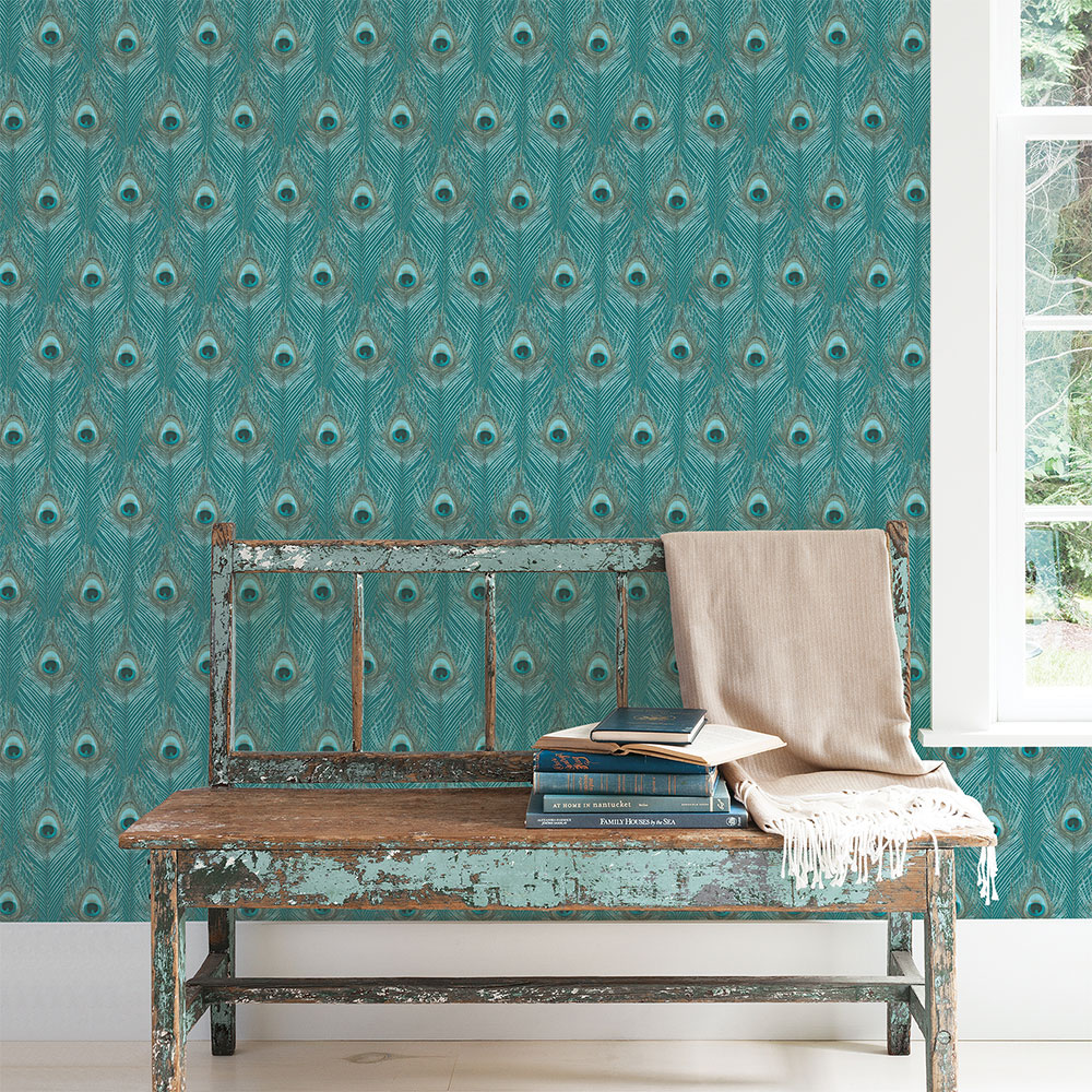 Peacock Feathers Wallpaper - Teal  - by Galerie