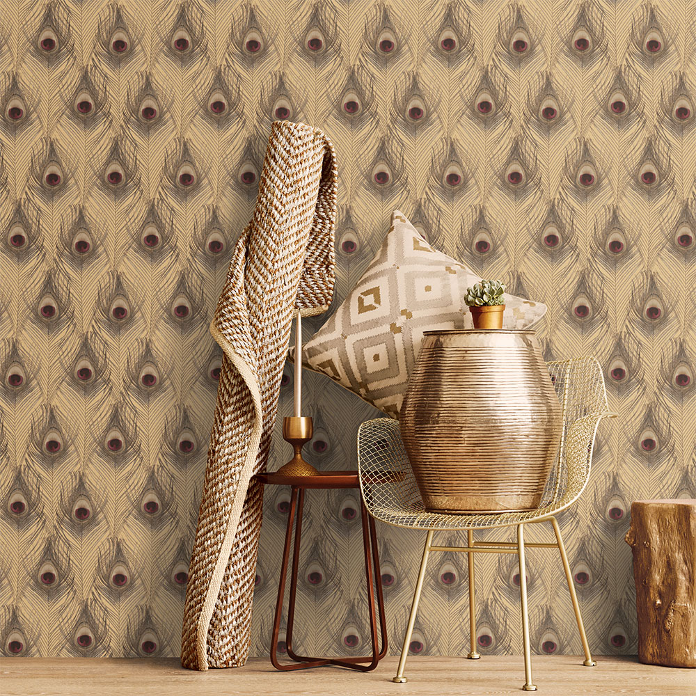 Peacock Feathers Wallpaper - Gold - by Galerie