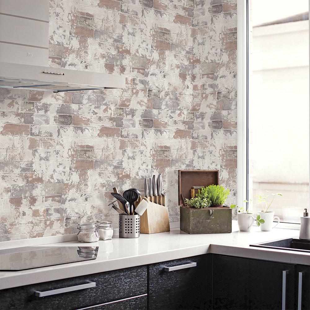 Rustic Brick Wallpaper - Natural - by Galerie