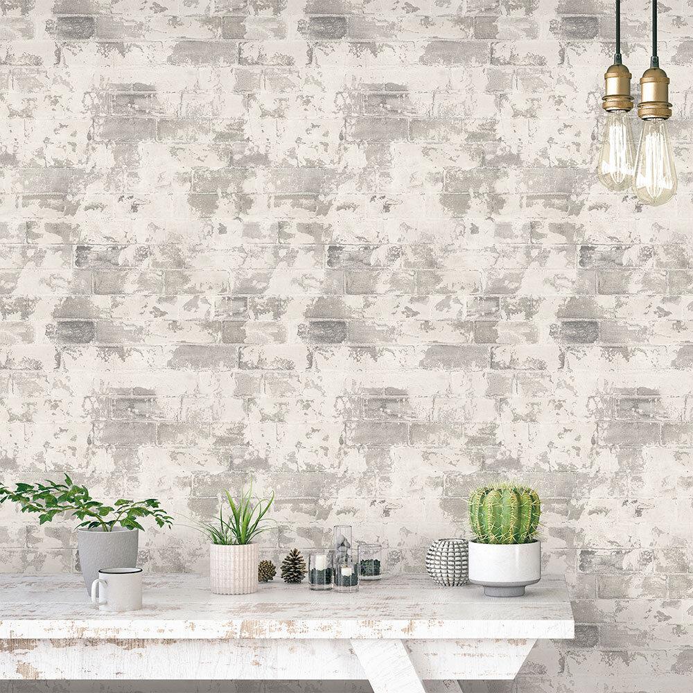 Galerie Rustic Brick Pale Natural Wallpaper - Product code: G67990