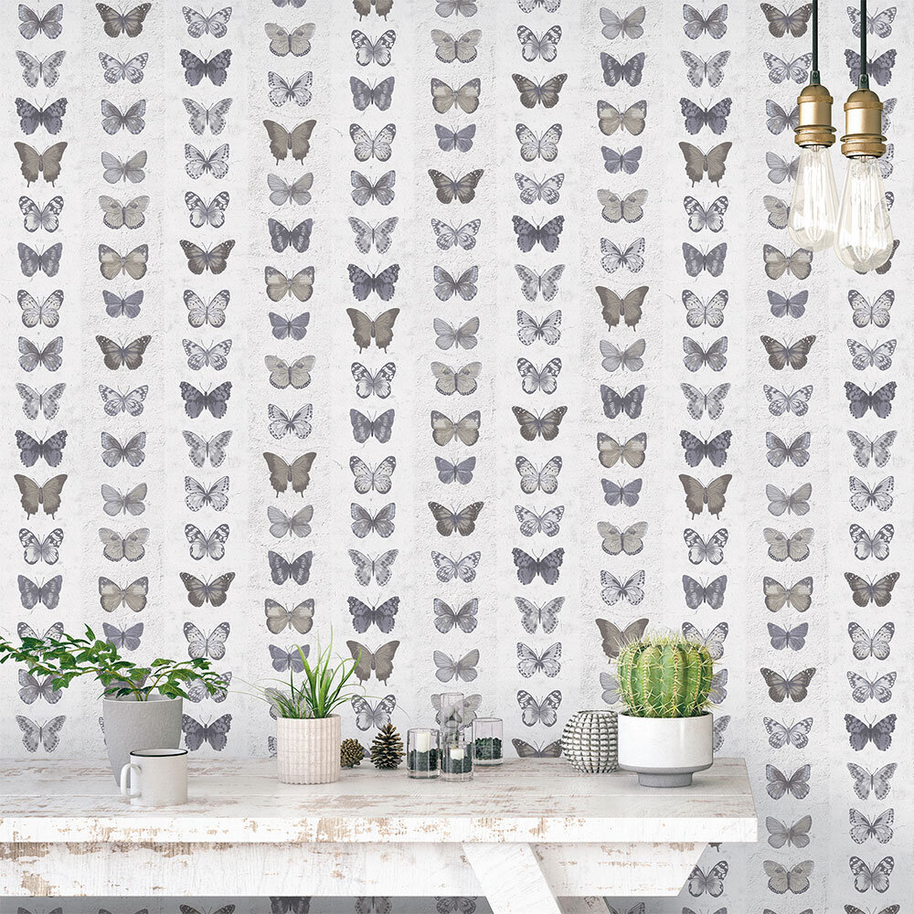 Galerie Butterfly Wall Grey Brown Wallpaper - Product code: G67991