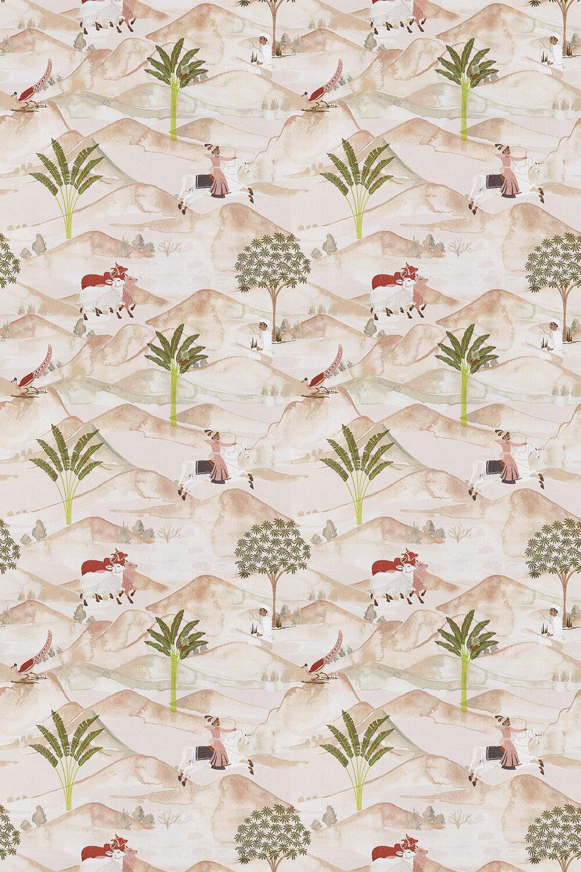 Sahara Fabric - Apple / Blush - by Clarke & Clarke