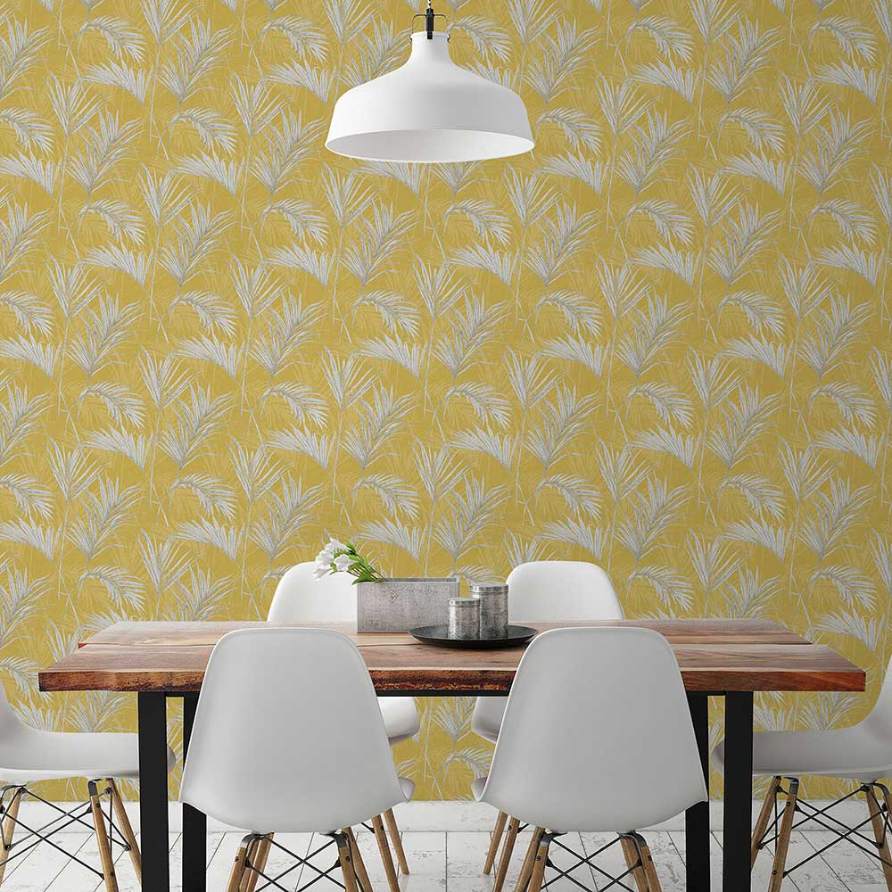 Palm Wallpaper - Gold - by Grandeco
