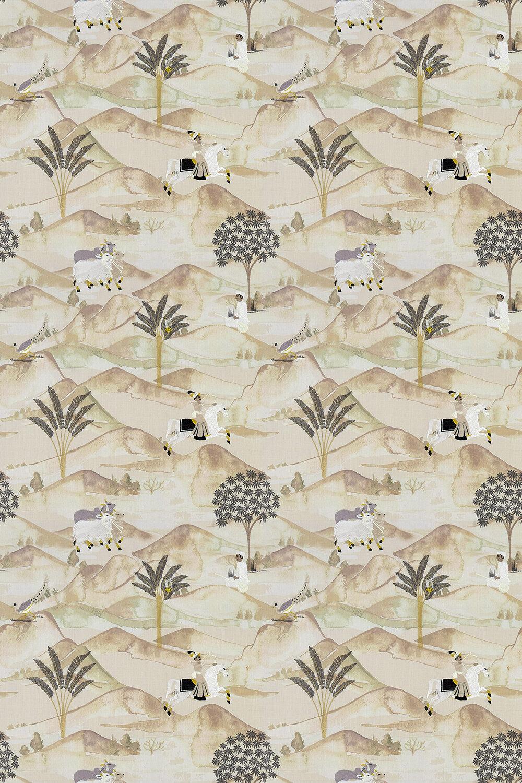Sahara Fabric - Charcoal / Ochre - by Clarke & Clarke