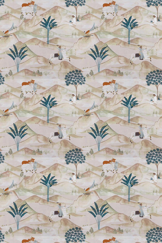 Clarke & Clarke Sahara Teal / Spice Fabric - Product code: F1371-04