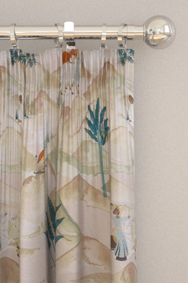 Clarke & Clarke Sahara Teal / Spice Curtains - Product code: F1371-04